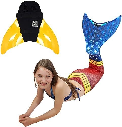 SUN TAILS Premium Meerjungfrauenflosse zum Schwimmen Kostüm Super Sirene Monoflosse Keiki Kinder Nunui Erwachsene