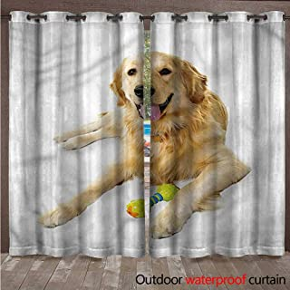 cobeDecor Golden Retriever Home Patio Outdoor Curtain Pet Dog Toy W72 x L84(183cm x 214cm)