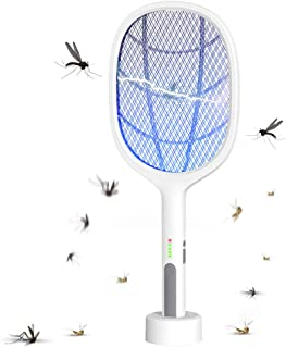 650mAh USB Rechargeable Mosquito Bat Bug Zapper 3000Volt Indoor & Outdoor Electric Fly Swatter Racket&Lamp 2 in 1 for Home...