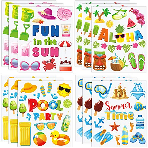 171 Pieces Summer Window Clings Double Sided Beach Pool Party Static Window Decal Hawaiian Window Stickers for Refrigerator Window Glass Car Summer Party Tropical Party Decoration, 12 Sheets