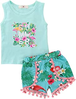 SUPEYA Baby Girls Flower Print Ruffle Tank Top+Denim Shorts Outfit Clothes 2PCS