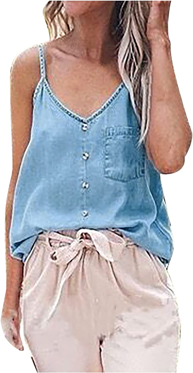 Women's Denim Rapid rise Cami Tops Summer Casual Strap Fixed price for sale But Spaghetti Neck V