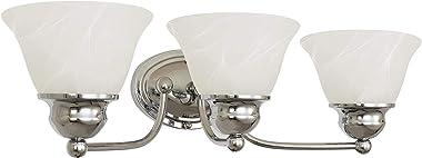 "Kira Home Carlisle 21"" 3-Light Vanity/Bathroom Light with Alabaster Glass, Polished Chrome"