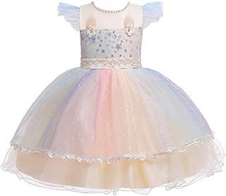 Luxury Children Princess Dress Colorful Flower Girl Dress Girls Princess Dress Tutu Costumes Children ryq (Color : Champagne, Size : 90cm)