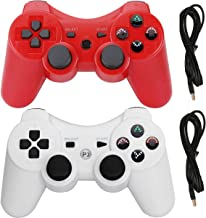 PS3 Controllers for Playstation 3 Dualshock Six-axis, Wireless Bluetooth Remote Gaming Gamepad Joystick Includes USB Cable (Red and White,Pack of 2)