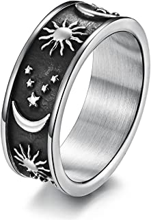 yomlry Moon Star ring Stainless Steel Sun and Moon ring for Women Men Wedding Promise Engagement Band Ring Size 6-13