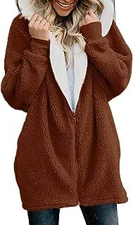 Ulanda Winter Coats for Women Plus Size Thermal Faux Fur Fleece Jacket Sherpa Lined Zip Up Fluffy Hoodies Cardigan