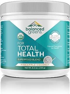 Total Health Organic Greens Powder Superfood by balanced greens, Boost Immunity, Digestion, Alkalize, Detox, Gluten Free Raw Vitamins & Minerals, Probiotics, Pineapple Coconut-30 Serv
