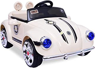 WEIWEI Realistic Toys 12V Lovely Ride on Cars Volkdwswagen Beetle Children's Electric Cars Double-Drive Car for Kids W/Rem...