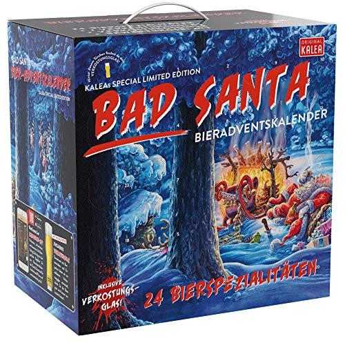Kalea Bier-Adventskalender 2020 | Edition Bad Santa | 24 Deutsche Bier-Spezialitäten und 1 exklusivem Verkostungsglas | 24 x 0,33 l Flaschen