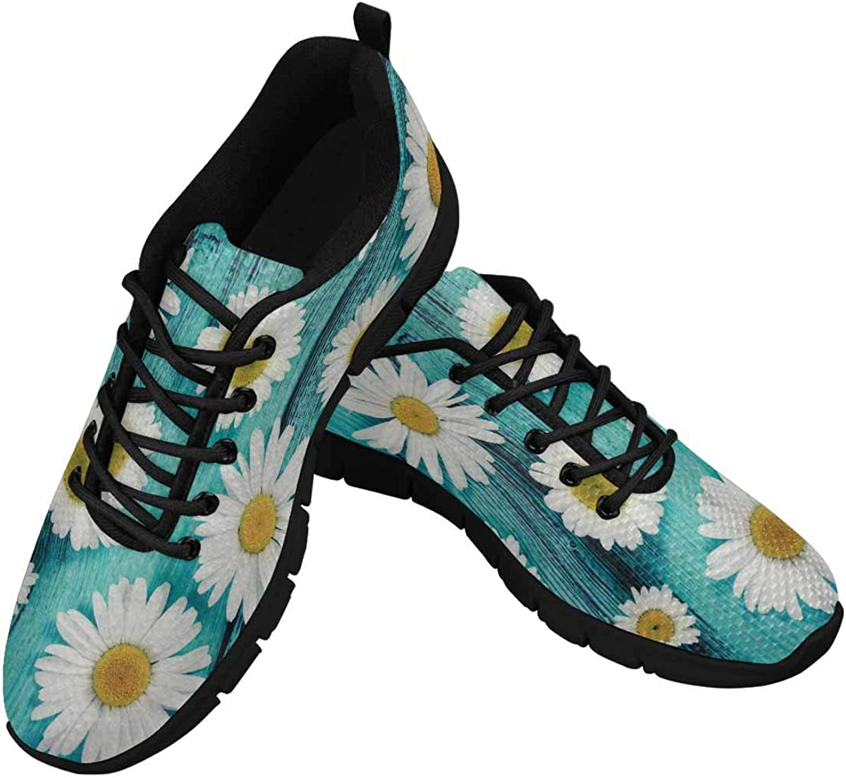 InterestPrint Chamomiles Flowers Women's Athletic Mesh Breathable Casual Sneakers Fashion Tennis Shoes