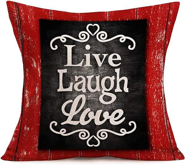 Asamour 现场笑爱刻字枕头套复古红色黑色实木相框古典名言亚麻棉抱枕靠垫家居沙发法令》个法令》