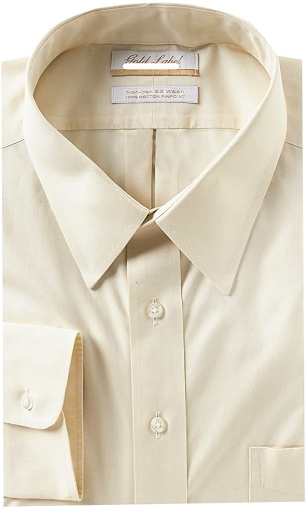 Gold Label Roundtree & Yorke Non-Iron Regular Big Tall Point Collar Solid Dress Shirt G16A0062 Ivory