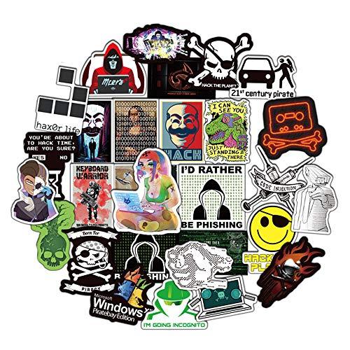 DOFE 50 Stück Hacker-Aufkleber, Laptop-Aufkleber, Gitarre, Motorrad, Fahrrad, Gepäck, Graffiti-Flicken für Teenager.