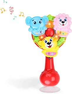 FS Spin Wheel Baby Rattle Toy, Spinning Activity High Chair Toy with Light, Music for Ages 6 Months and Up Toddlers for Early Learning.