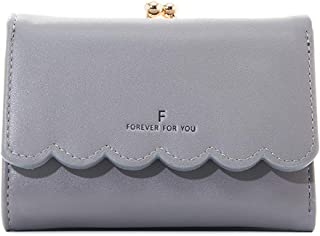 EXQUILEG Small Leather Wallet for Women, Mini Wallets Credit Card Holder Leather Pocket Ladies (Gray)