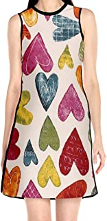 Women's Sleeveless Dress Multicolor Love Fashion Casual Party Slim A-Line Dress Midi Tank Dresses