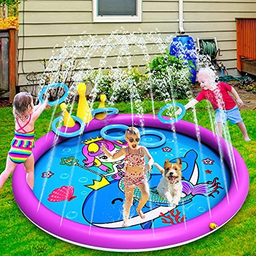 INNOCHEER Almohadilla de salpicaduras 3 en 1 para niños, piscina inflable de vadeo de 68 pulgadas con divertido juego de lanzamiento de anillo, estera de juego para niños y niños pequeños