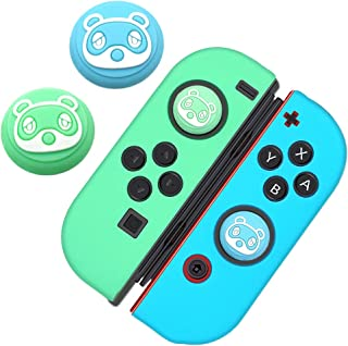 Switch Thumb Grip Caps Joystick Cap for Nintendo Switch & Lite Animal Crossing Cute Little Bear Design (2 PCS Green & Blue), Soft Silicone case for Joy-Con Controller