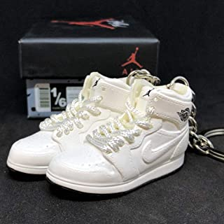Pair Air Jordan I 1 Retro High Triple All White OG Sneakers Shoes 3D Keychain Figure + Shoe Box