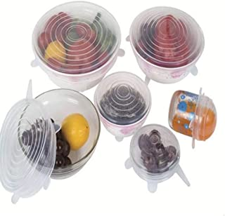 Tilloe 6 PCS Silicone Stretch Lids Reusable Bowl Sealed Fresh Cover Food Savers & Storage Containers