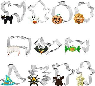 Emporte Piece Halloween, Lot de 11 Emporte-pièces en acier inoxydable, pour Halloween Gâteaux Patisserie Biscuits Cookie F...