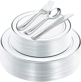 125 Piece Silver Rim Plastic Plates & Silver Plastic Silverware, Service for 25 Guests : 25 Dinner Plates,25 Dessert/Salad...