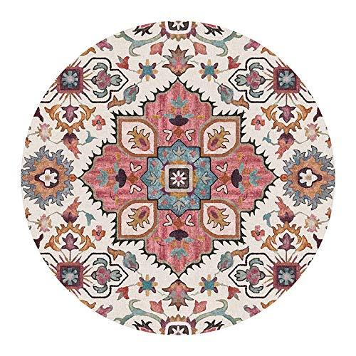 Ethnic Geometric Soft Carpet Round Carpet Living Room floral Flower Floor mat Door Chair Baby Game mat mat Living Room Bedroom Area Carpet-5_Diameter 160CM