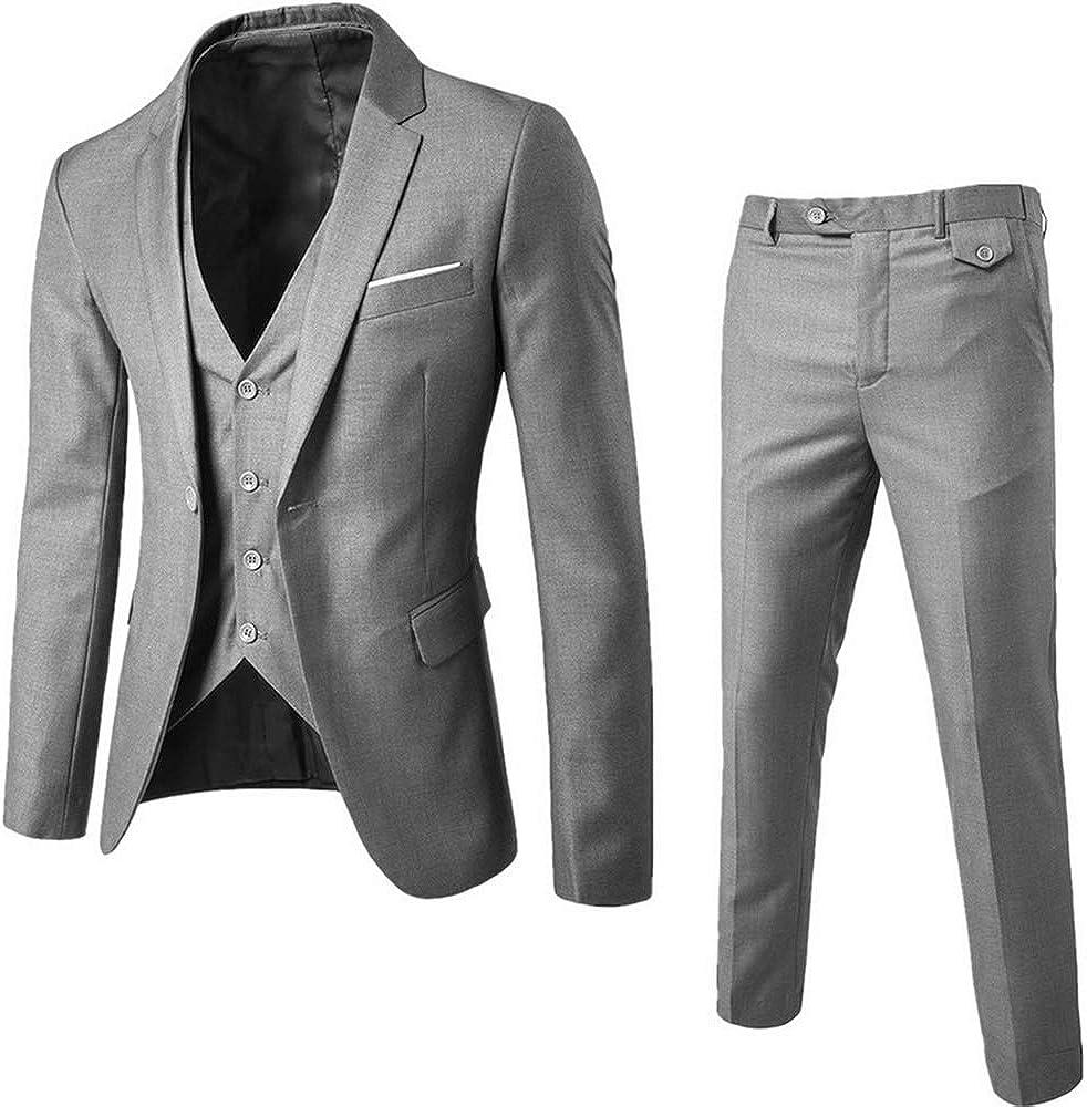 Manooby Mens 3-Piece Slim Fit Solid Color Jacket Suit + Vest + Pants 3 Pieces Sets Business Suits Blazers Jacket