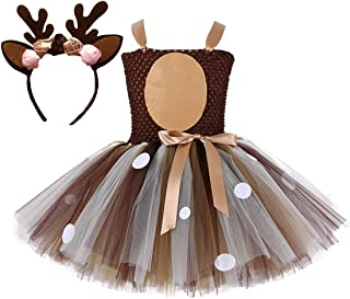 Colorfog Girls Kids Princess Christmas Deer Costume Dress Halloween Party Cosplay Fancy Dress