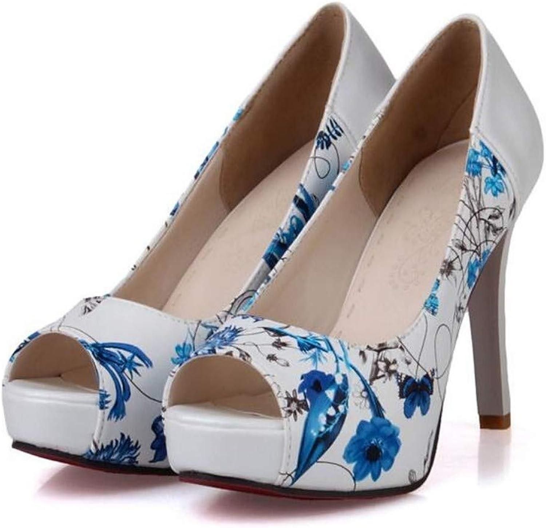 ZHZNVX Women's PU Summer Sandals Stiletto Heel Black Red bluee