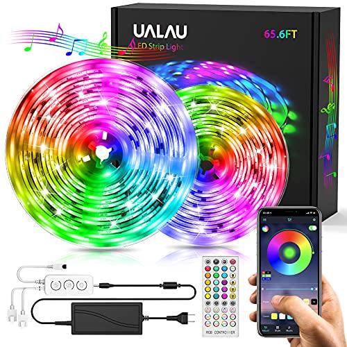UALAU Tiras LED 20M, Tira de LED Súper Larga de 20M, APP y de Control Remoto Luces LED, LED Tira Luz Sincronización de Música con 600 LEDs RGB 5050 SMD para Decoración Interior