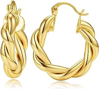 حلق هوب ذهبي ملتوي للنساء 14 قيراط مطلي بالذهب مكتنزة أقراط هوب خفيفة الوزن مصقولة هوب مجوهرات هدية بنات