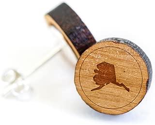 WOODEN ACCESSORIES COMPANY Wooden Stud Earrings With Alaska Laser Engraved Design - Premium American Cherry Wood Hiker Earrings - 1 cm Diameter