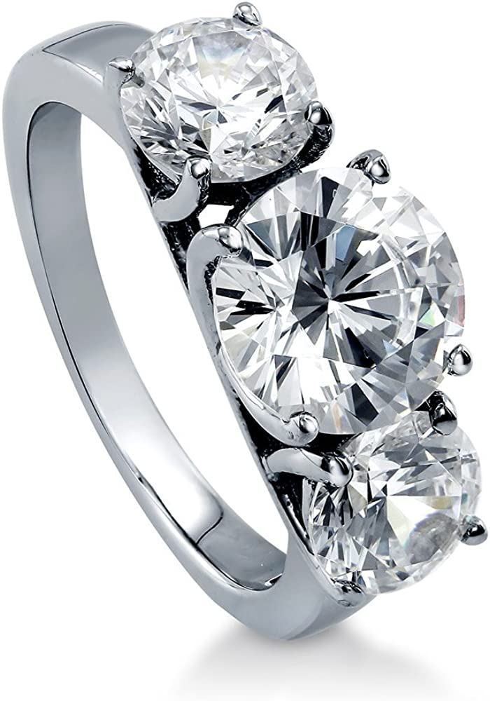 BERRICLE Rhodium Plated Sterling Silver Zirconia CZ Los Angeles Genuine Free Shipping Mall Round Cubic