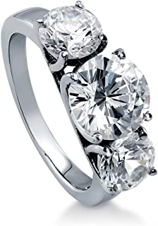 Rhodium Plated Sterling Silver Round Cubic Zirconia CZ 3-Stone Anniversary Engagement Ring 3.72 CTW