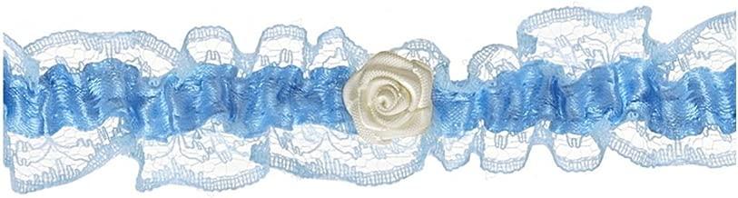 Strumpfband wei/ß-blau mit kleiner Rose Breite 2,4 cm f/ür die Braut Hochzeit