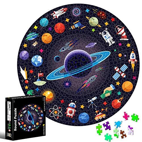 Puzzle Redondo 1000 piezas,Rompecabezas Redondo,Puzzle Adultos,Para Educativo El Alivio del Estrés Circular Desafío Intelectual Juegos Niños Adultos (Espacio)