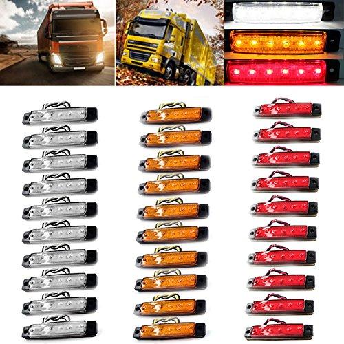 Boomboost 30PCS 6LED 12V Camion Feux de signalisation Rouge Jaune Blanc