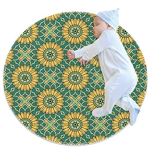 chuangxin Oranje BloemenBaby Tapijt voor Kwekerij Kids Ronde Warm Zachte Activiteit Mat Vloerbedekking Anti-slip voor Kinderen Peuters Slaapkamer, 31.5x31.5IN