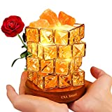 OXA Smart Natural Himalayan Salt Lamp, Pink Salt Glow Rock in Crystal Basket with Wood Base, 6-inch High, UL-Listed Cord and 2 Extra Original Bulbs Included -Holiday Gift