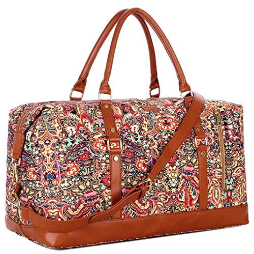 BAOSHA Oversized Travel Duffel Bag Carry on Weekender Overnight Bag for Women HB14 (Flower)