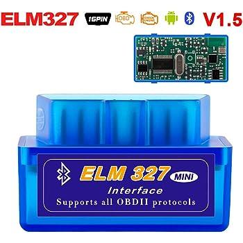 ELM 327 Bluetooth Best Hardware V1.5 OBD II ODB2 ELM327 esc/áner de interfaz de diagn/óstico de coche funciona en Android Torque