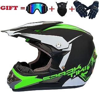 IKHNGLE Full Face Off Road Motocross Quad Crash Helmet ECE Downhill Dirt Bike MX ATV Adult Motorbike Helmet Gloves, Goggles, Mask 4 Piece Set