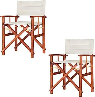 Casaria 2X sillas 'Cannes' Plegables con Fundas extraíbles repelentes al Agua de Madera de Eucalipto Exterior Interior