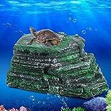 Duokon Turtle Basking Plataforma Ocultar Cueva Natural Hábitat Rocks Resina Flotante Isla Acuario Piedra Decoración para Semi Acuático Animales Reptil
