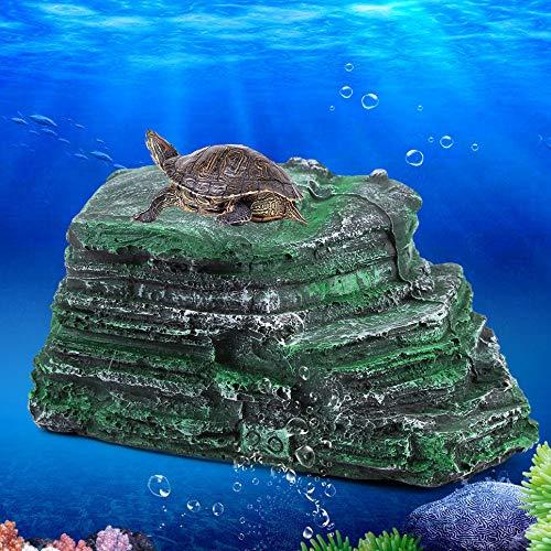 Turtle Aalen Plattform verstecken Höhle natürlichen Lebensraum Felsen Harz schwimmende Insel Aquarium Stein Dekor für semi-aquatische Tiere Reptil