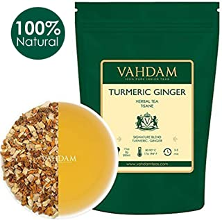VAHDAM, Turmeric + Ginger POWERFUL SUPERFOOD Blend (100 Cups) Herbal Tea | POWERFUL Wellness & Healing Properties of TURMERIC & GINGER | 100% NATURAL | Brew as Hot or Iced Tea | 7oz