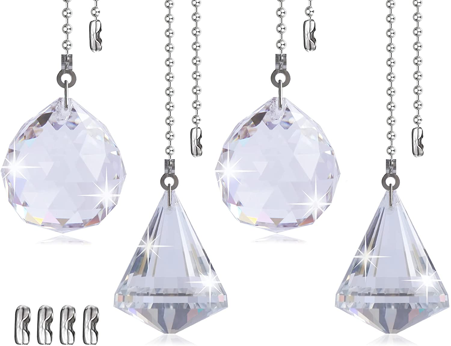 Petute Ceiling Fan Pull Chain Crystal Extender Decorat 4 Pieces Los Sales Angeles Mall