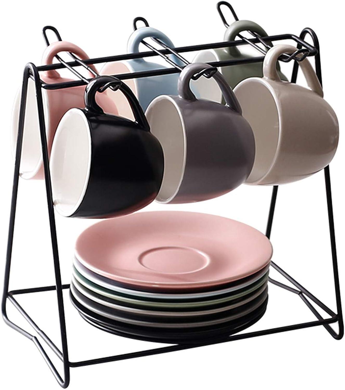 XCXDX Couleuré de Tasse à café en céramique, 6pièces de Tasse à café avec soucoupes et Support de RangeHommest, Cadeau élégant
